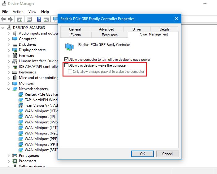 Allow this device to wake the computer unchecked