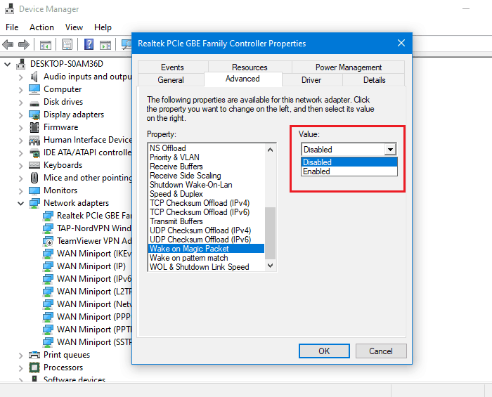 Wake on Magic Packet Disabled