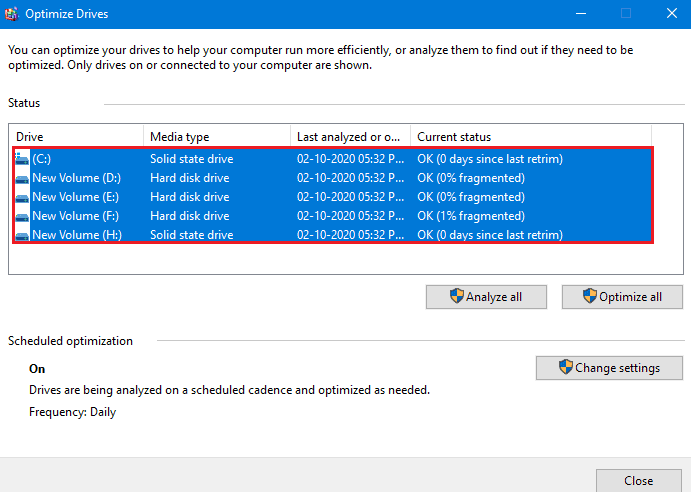 All drives selected