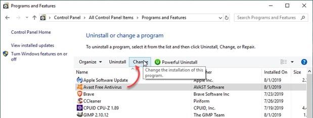 Avast update error