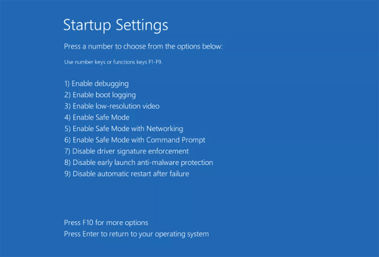 Windows startup settings - Safe Mode with Networking